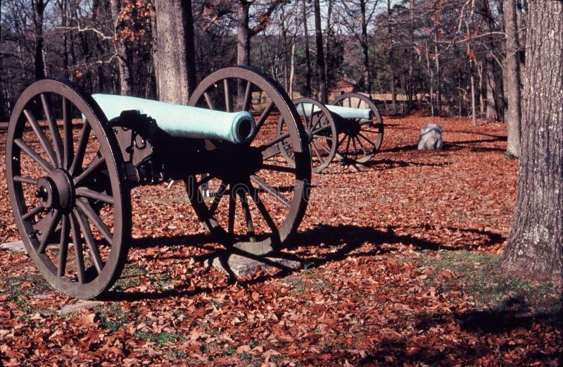 Cannoni della guerra civile sul campo di battaglia di Chickamauga immagine stock libera da diritti