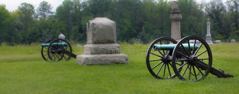 Cannoni di era della guerra civile al parco nazionale del campo di battaglia di Chickamauga fotografia stock