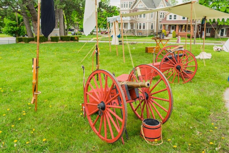 Cannoni di era della guerra civile al pronto fotografie stock libere da diritti