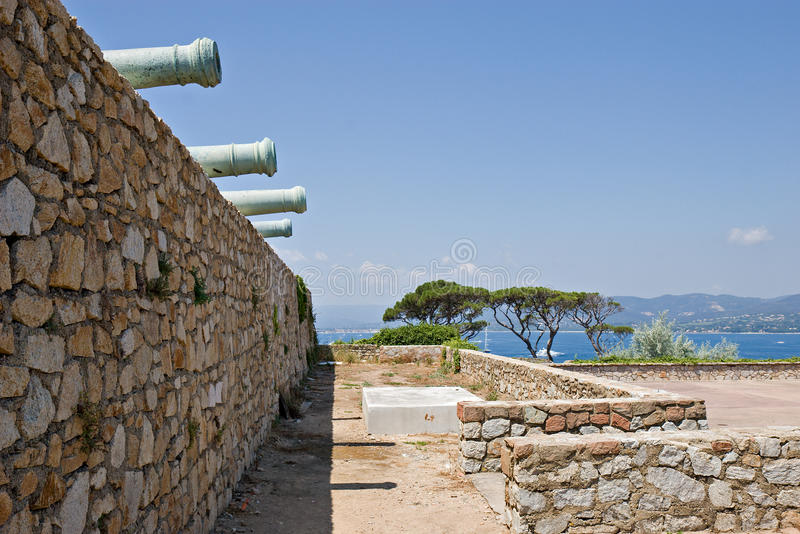 Cannons. Aimed into the Golfe de St-Tropez from the Citadelle royalty free stock photography