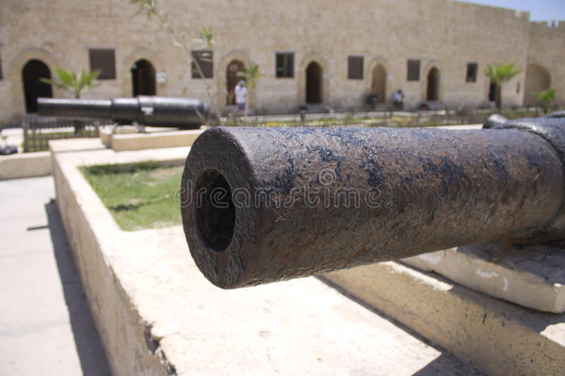 Cannons. Located in the entrance yard to the Citadel of Qaitbay stock photos