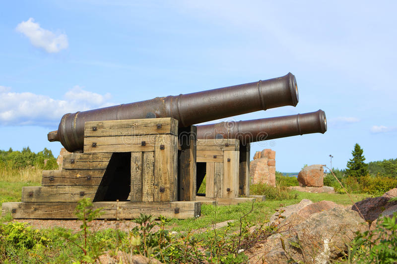 Cannons in Aland Islands. Cannons in historical Russian stronghold area in Bomarsund, Aland Islands royalty free stock image
