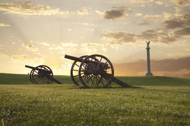 Cannons at Antietam (Sharpsburg) Battlefield in Maryland. A pair of cannons at sunset on the Antietam National Battlefield near Sharpsburg, Maryland royalty free stock image