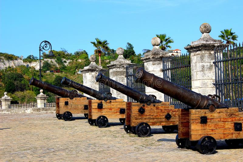 Cannons at Castillo San Felipe del Morro. In Old San Juan, PR stock images
