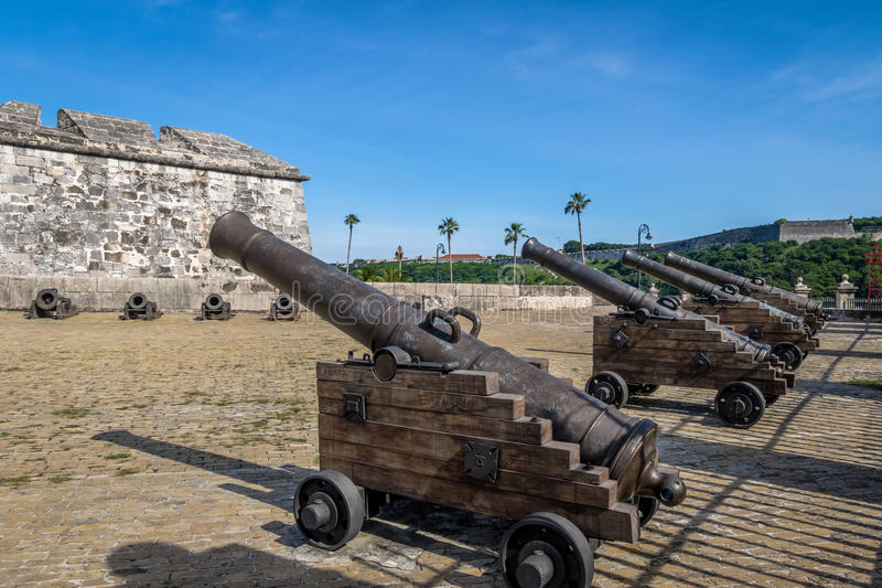 Cannons at Castle of the Royal Force Castillo de la Real Fuerza - Havana, Cuba. Cannons at Castle of the Royal Force Castillo de la Real Fuerza in Havana, Cuba royalty free stock photography