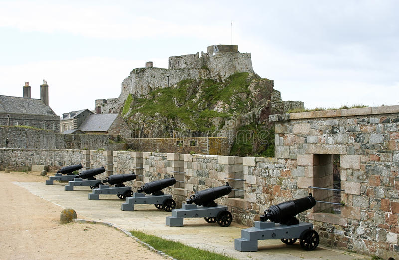 Cannons. In Elizabeth Castle on Jersey island royalty free stock image
