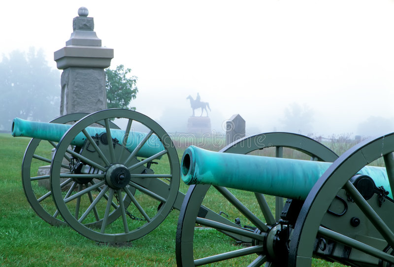 Cannons in a fog at gettysburg stock images