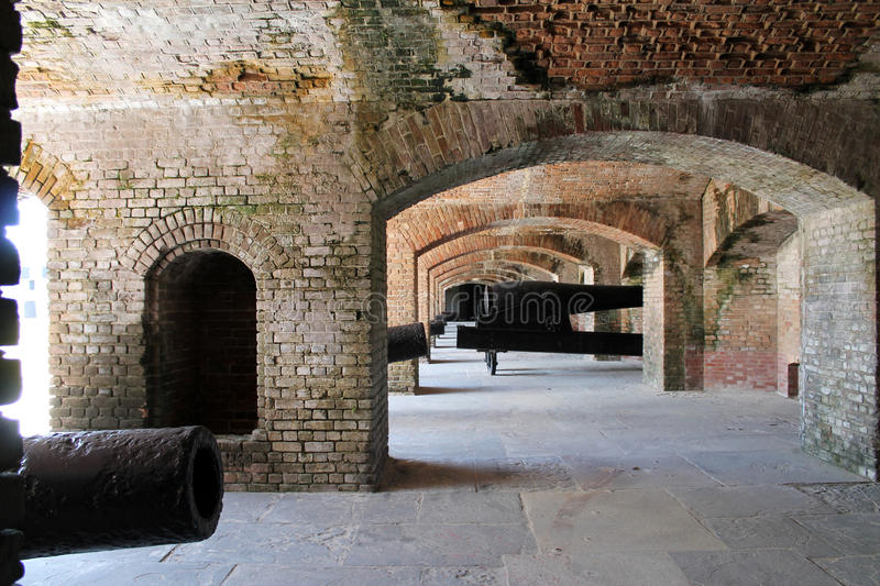 Cannons in fort bunker royalty free stock images