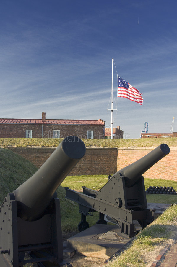 Cannons at Fort McHenry. National Historic Shine, Baltimore, Maryland royalty free stock photos