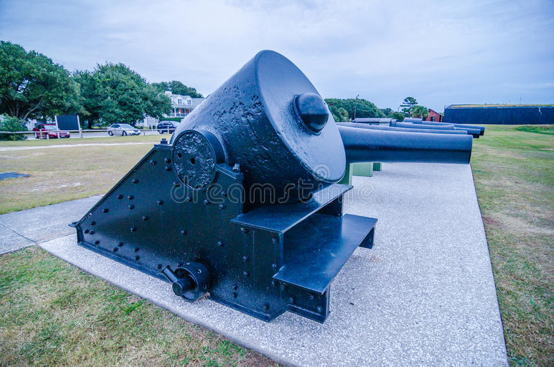 Cannons of Fort Moultrie on Sullivan's Island in South Carolina. A fort at this site guarded Charleston Harbor for over 200 years royalty free stock photos