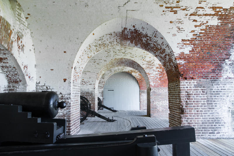 Cannons at Fort Pulaski. National Monument stock photos