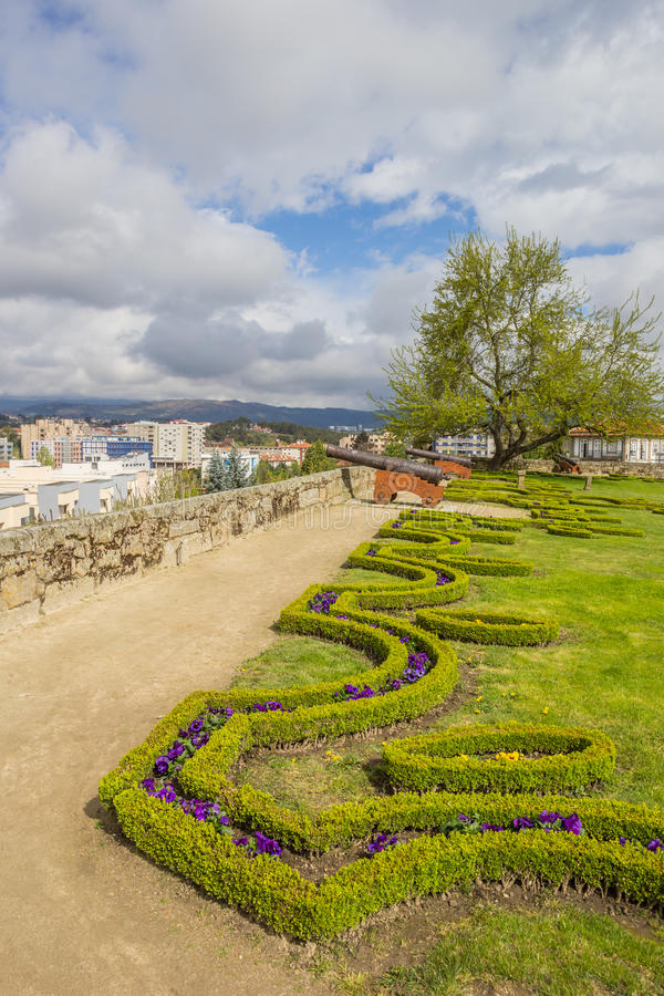 Cannons in the garden of the Chaves castle. Cannons in the garden of the medieval Chaves castle royalty free stock images