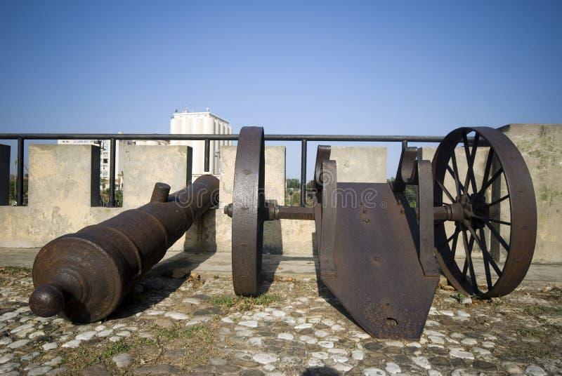 Cannons on las damas. Street santo domingo dominican republic next to relojs del sol royalty free stock photo