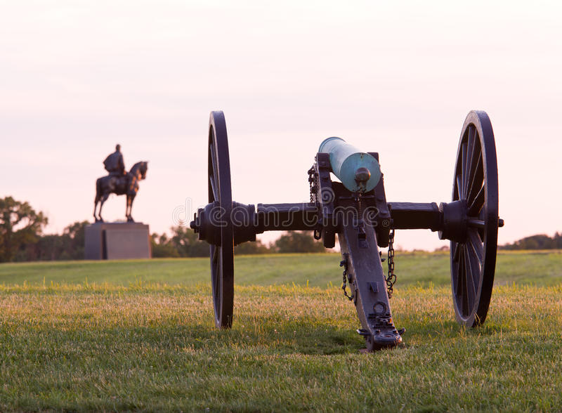 Cannons at Manassas Battlefield stock images