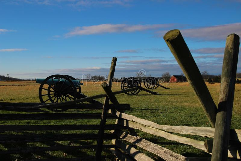 Cannons on the Farm. Cannons protecting a farm on the Gettysburg National Battlefield Park stock photos