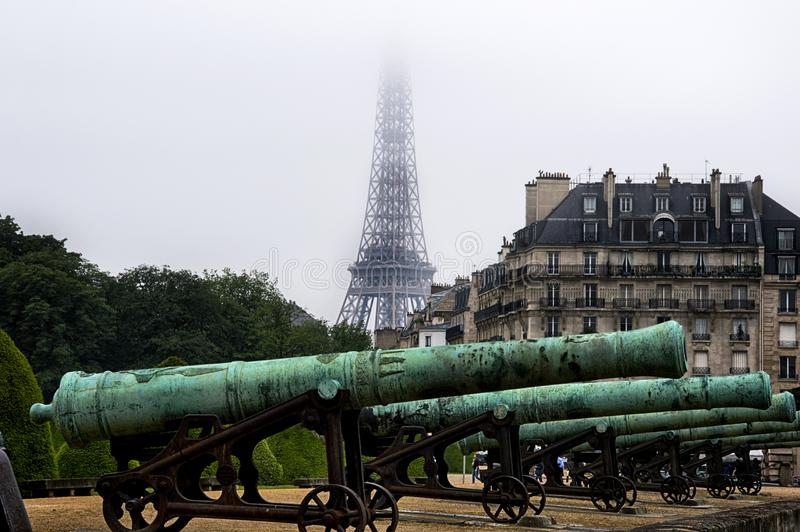 Cannons of revolution near National Residence of Invalids, aka Les Invalides, Paris, France stock photography