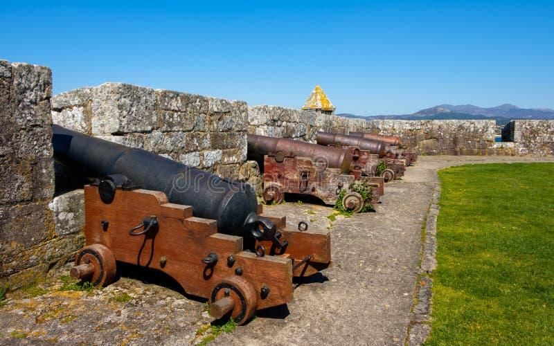 Cannons of Tenaza Tower, baiona. Baiona, Espanha - May 03, 2018 : Big cannons of Tenaza Tower, Pontevedra, Espanha stock photo