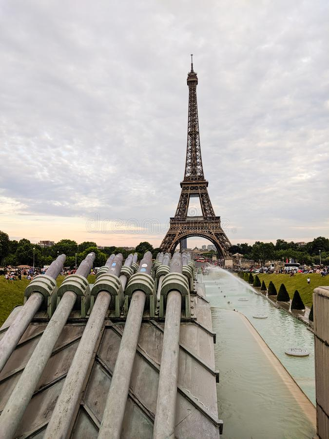 Cannons from Trocadero, Eiffel Tower in Paris France stock photography