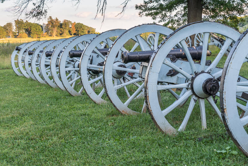 Cannons at Valley Forge. Line of cannons at Valley Forge National Historic Park, Pennsylvania stock image