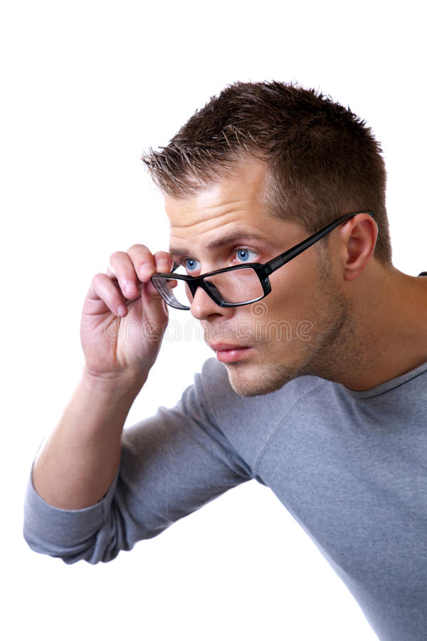 Cannot see without glasses stock images