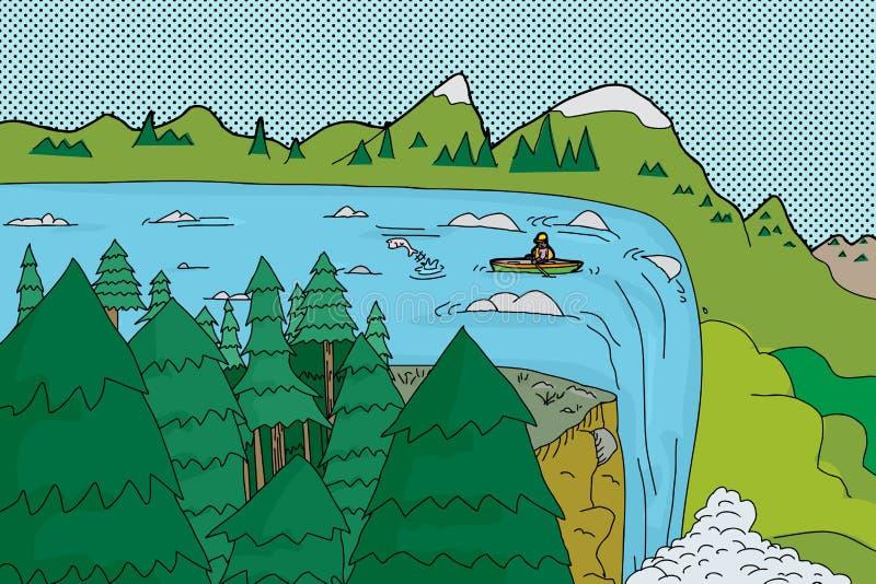 Canoë près du bord de la cascade illustration de vecteur