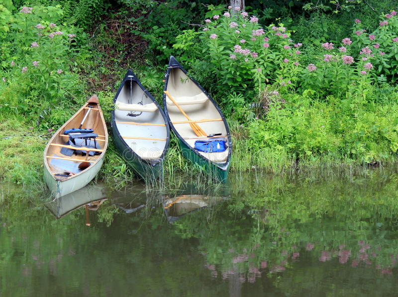 Canoës sur le côté de fleuve photo stock