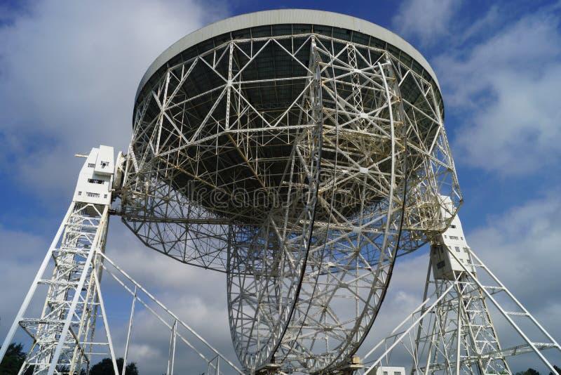 Cano principal Radiotelescope do banco de Jodrell fotos de stock