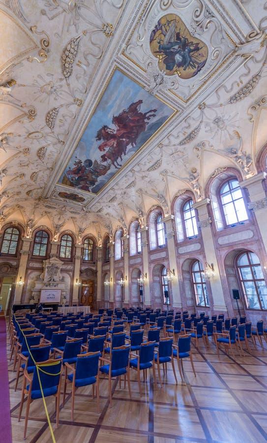 Cano principal Salão do palácio de Waldstein imagens de stock