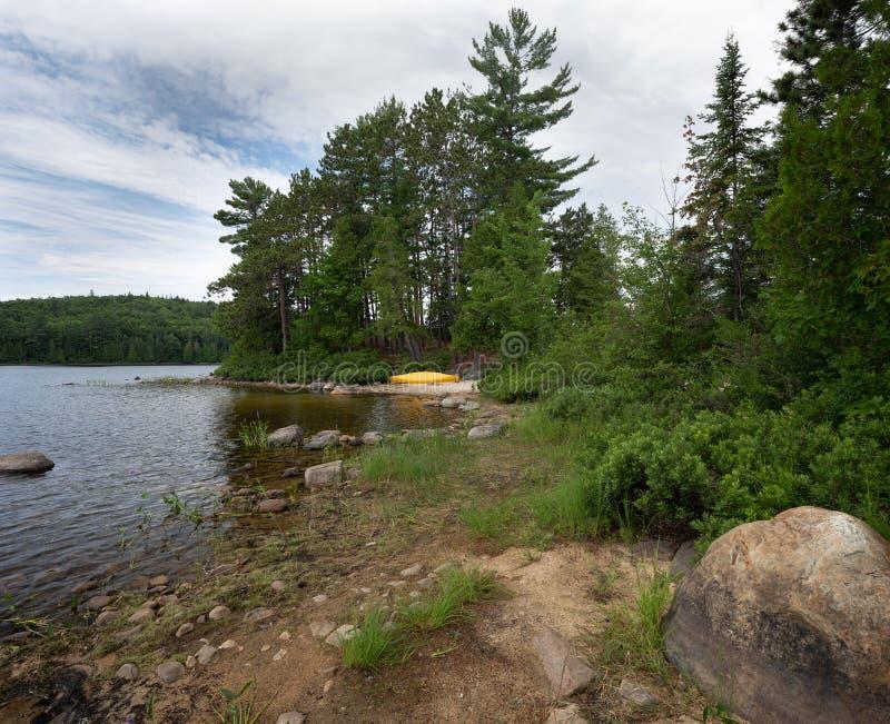 Canoa amarilla en la orilla Forest Adventure del lago fotografía de archivo libre de regalías