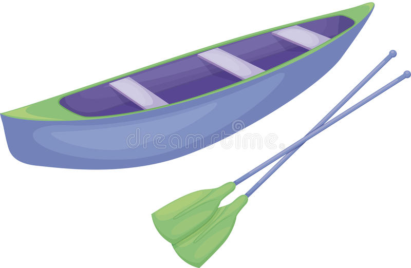 Canoa blu e verde illustrazione vettoriale