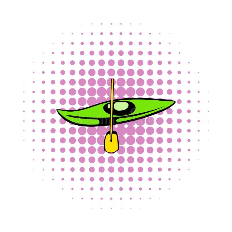 Canoa com ícone da pá, estilo da banda desenhada ilustração stock