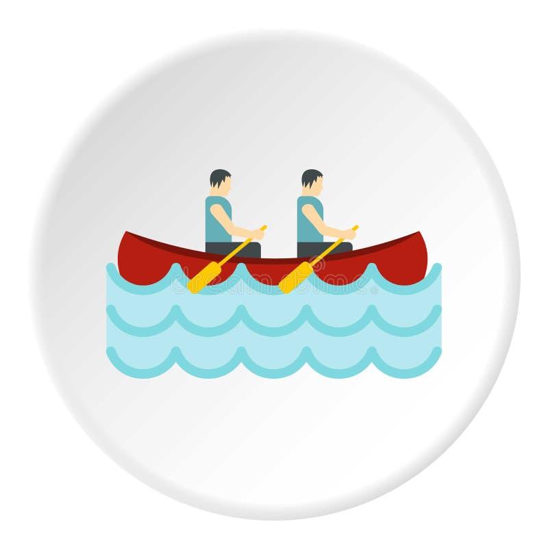 Canoa com círculo do ícone de dois atletas ilustração do vetor