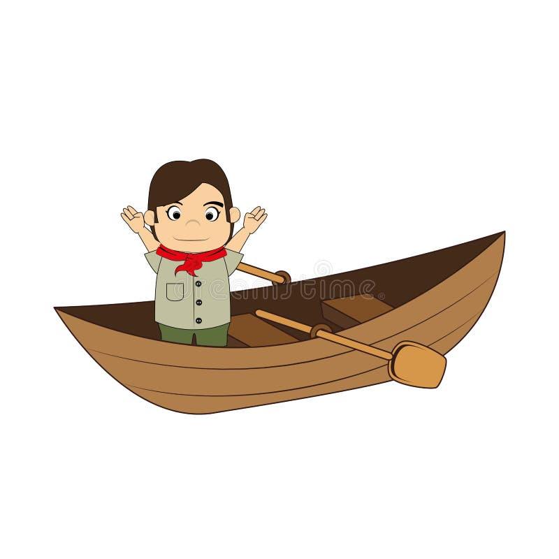 Canoa com explorador e enfileiramento da criança ilustração stock