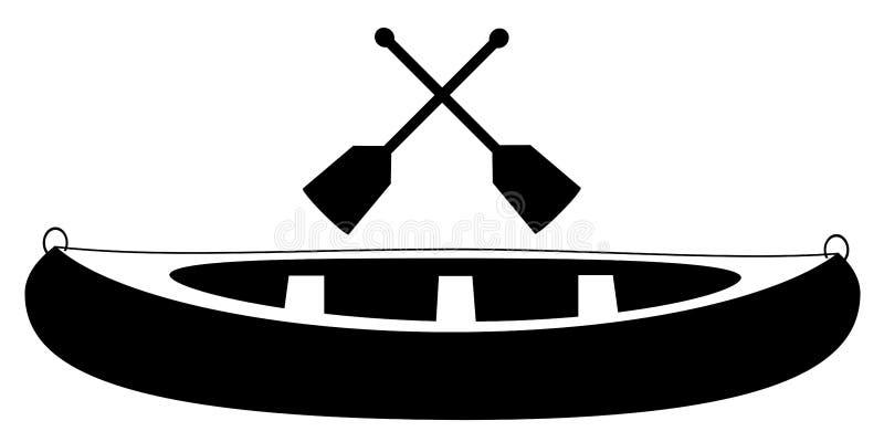 Canoa com vetor da pá ilustração stock