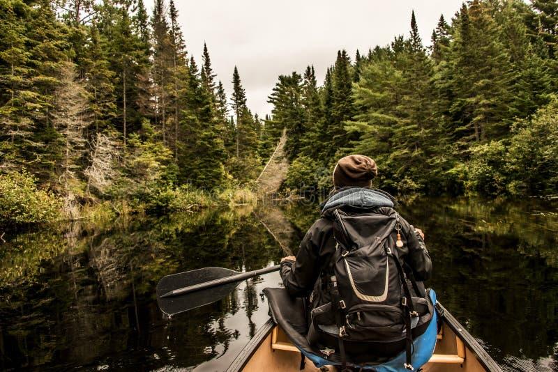 Canoa della ragazza con la canoa sul lago di due fiumi nel parco nazionale del algonquin in Ontario Canada il giorno nuvoloso fotografie stock libere da diritti