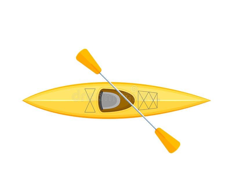 Canoa do barco de borracha com remos Transporte da água, barco de pesca, passatempos ilustração stock
