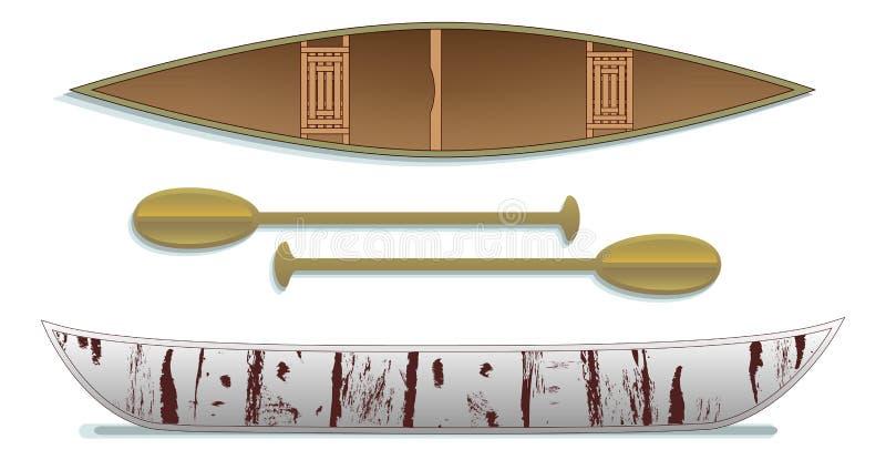 Canoa e pale tradizionali della corteccia di betulla due viste illustrazione vettoriale