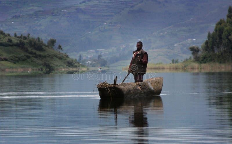 Canoa em Uganda, África fotografia de stock royalty free