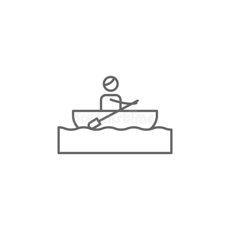 Canoa, icona di avventura Elemento dell'icona di avventura Linea sottile icona per progettazione del sito Web e sviluppo, svilupp illustrazione vettoriale