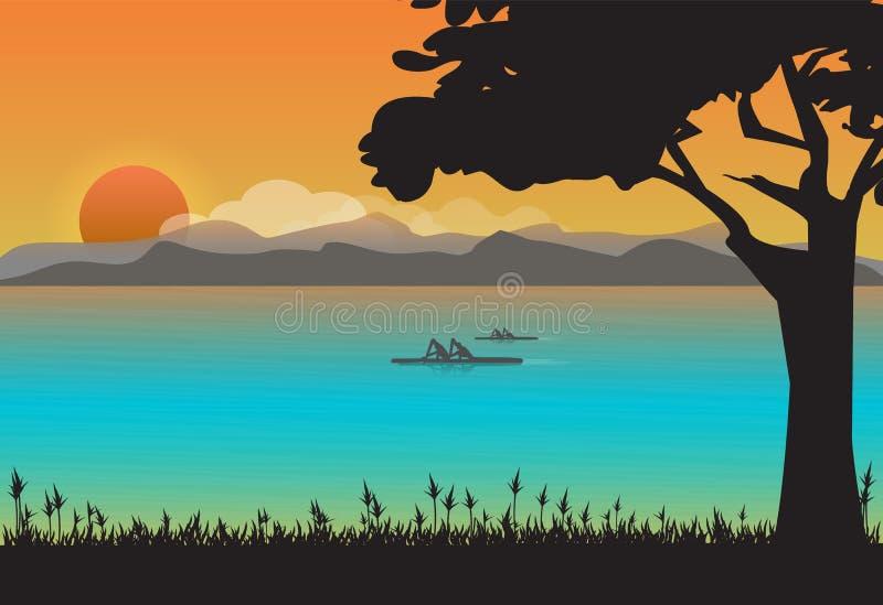 Canoa na lagoa, fundo da paisagem da natureza ilustração stock