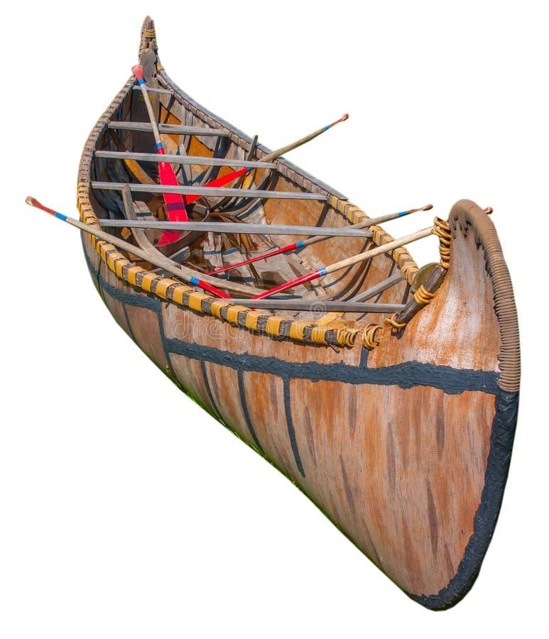Canoa nazionale della corteccia di betulla dal Grandi Laghi isolato su bianco fotografia stock libera da diritti