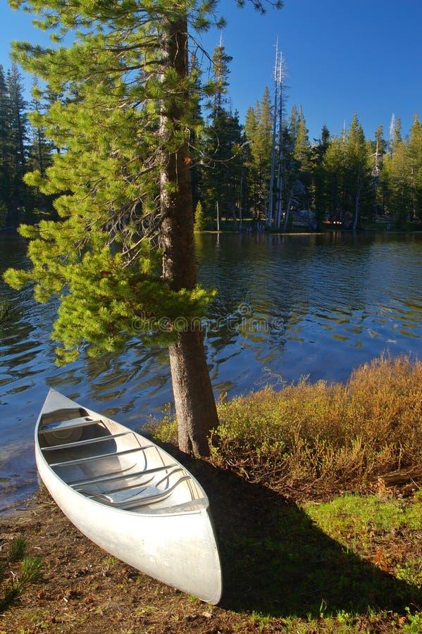 Canoa por el río imagen de archivo