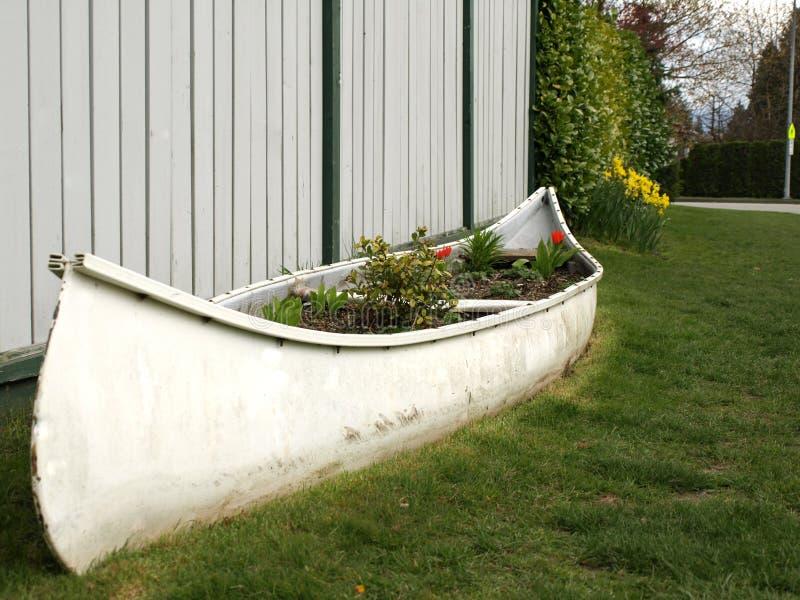 Canoa reciclada, reutilizada como cama de flor fotografía de archivo libre de regalías