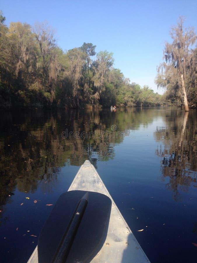 Canoa sul fiume di suwannee fotografia stock
