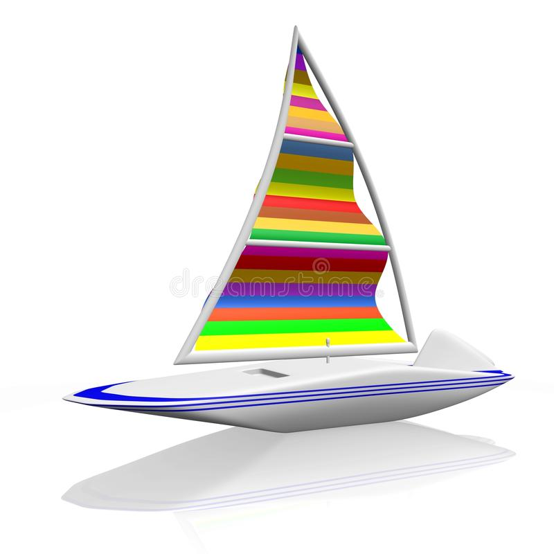 Canoa surfando da jangada do barco de vela do vento ilustração stock