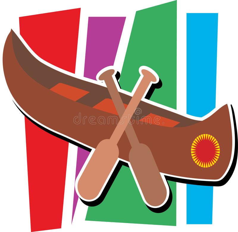 Canoe. Stylized canoe with two paddles and striped background vector illustration