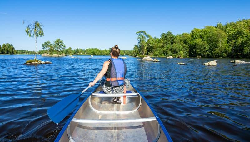 Canoe adventure in Sweden stock images