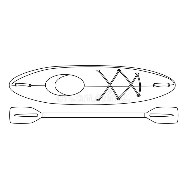 canoe boat isolated with paddle stock illustration