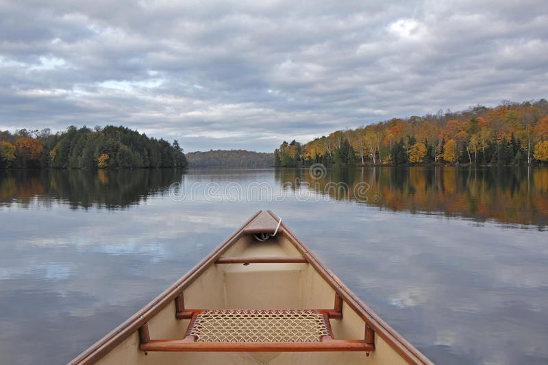 Canoe Bow on an Autumn Lake. Ontario, Canada royalty free stock photo