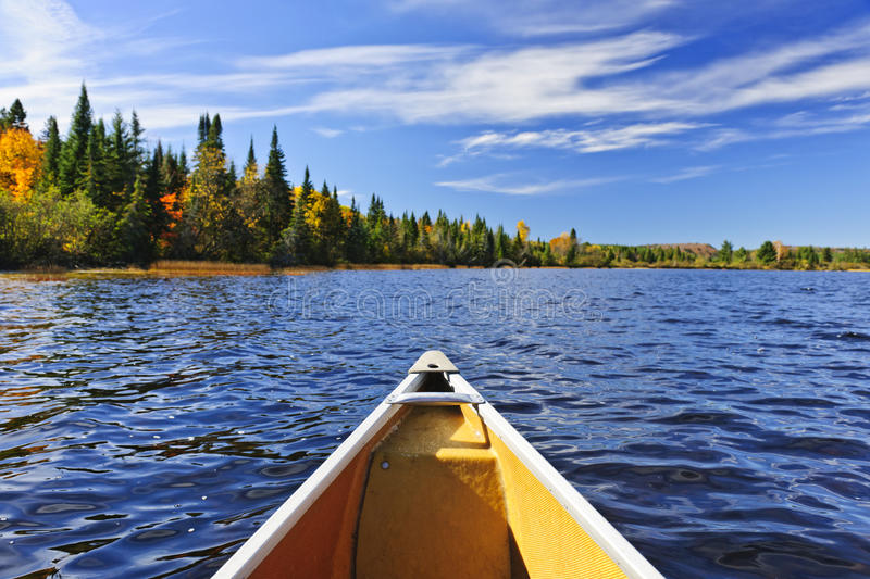 Canoe bow on lake. Bow of canoe on Lake of Two Rivers, Ontario, Canada royalty free stock photos